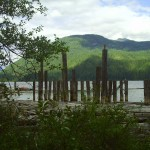 Remants of the old tresle crossing water at Dodd Lake Campsite